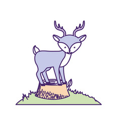 Cute deer animal in bole wood tree vector