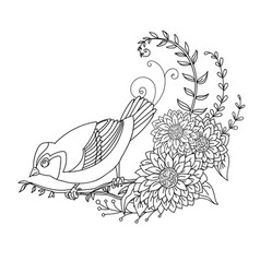 decorative little bird with flowers vector image