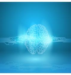 Digital brain on blue background vector image