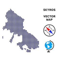 Dot skyros greek island map vector