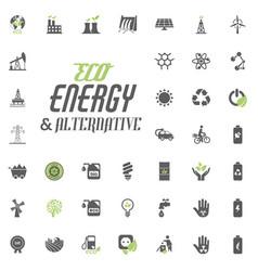 eco and alternative energy icon set energy vector image