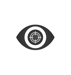 eye focus flat icon with aim isolated on white vector image