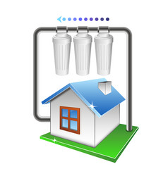 Filtration of water in the house vector