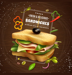 Fresh sandwich wooden background vector