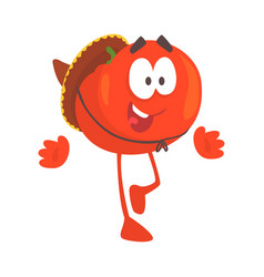 Funny cartoon red tomato character wearing vector