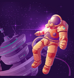 future astronaut in outer space cartoon vector image