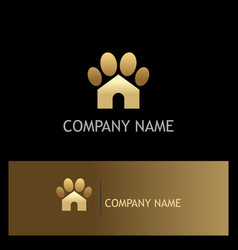 Gold dog house pet logo vector