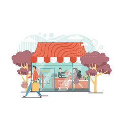 Grocery shop flat style design vector