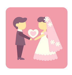 groom and bride flat icon vector image