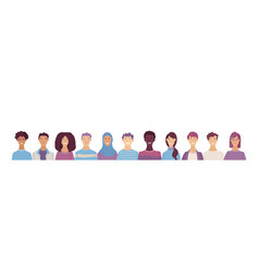 Group portrait diverse people vector