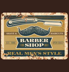 hairdresser and barber rusty metal plate vector image