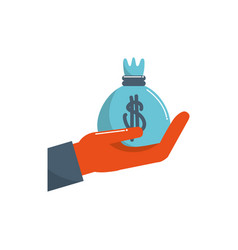 Hand holding bag money business financial color vector