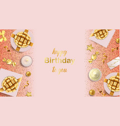 happy birthday to you greeting web banner vector image