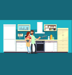 Happy couple cooking in kitchen vector