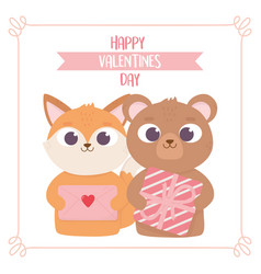 happy valentines day cute fox and bear with gift vector image