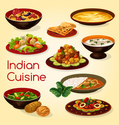 indian cuisine rice meat and vegetable dishes vector image