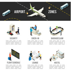 Isometric airport zones template vector
