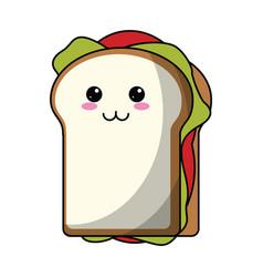 Kawaii sandwich tasty food icon vector