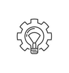 lightbulb in gear outline icon light bulb vector image