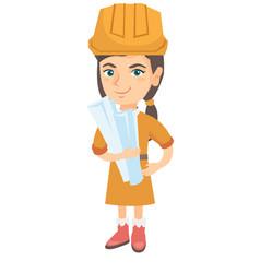 little caucasian engineer girl holding paper plans vector image