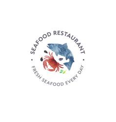 Logo seafood watercolor red crab shells fish vector