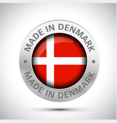made in denmark flag metal icon vector image