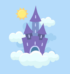magic fantasy fairytale castle flying in clouds vector image