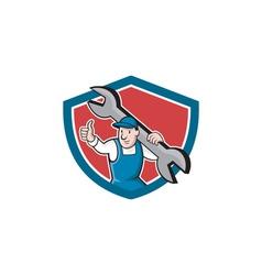 Mechanic Thumbs Up Spanner Shield Cartoon vector