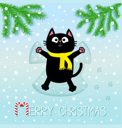 Merry christmas black cat laying on back making vector