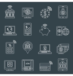 Mobile banking icons outline vector image