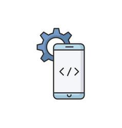 mobile software development rgb color icon vector image