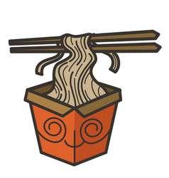 Noodles in box with chopsticks chinese fast food vector