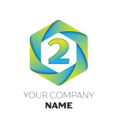 number two symbol on colorful hexagonal vector image