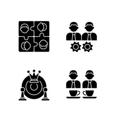 Office members interaction black glyph icons set vector