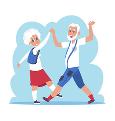 old couple dancing cartoon happy granny and vector image