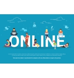 Online addiction concept vector