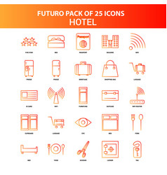 orange futuro 25 hotel icon set vector image