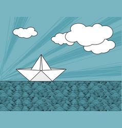 origami paper ship on sea waves vector image