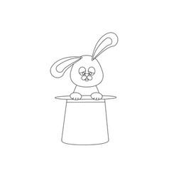 rabbit in magic hat outline vector image