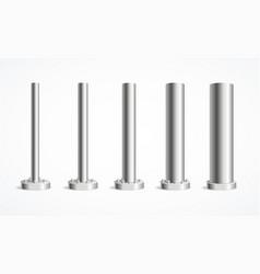 Realistic detailed 3d metal pole pillars set vector