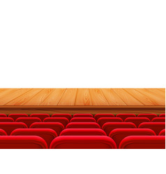 Realistic theater wooden stage or floor with rows vector