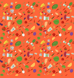Seamless 8 pattern of flat style vegetables and vector