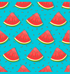 seamless pattern with watermelon on blue vector image