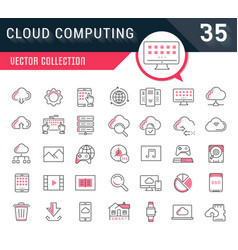 Set flat line icons cloud service vector