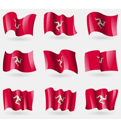 Set of Isle of man flags in the air vector image