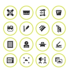 Set round icons screen printing vector