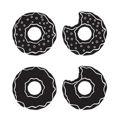 set silhouettes donuts vector image