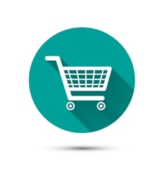 Shopping cart flat icon on green with long shadow vector