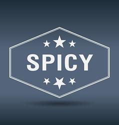 Spicy hexagonal white vintage retro style label vector