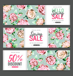 spring big sale poster with full blossom peony vector image